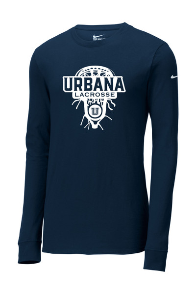 Urbana Hawks LACROSSE T-shirt LS NIKE Cotton LAXHEAD Many Colors Available SZ S-3XL NAVY