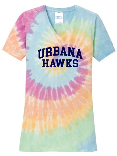 Urbana Hawks V-neck T-shirt Cotton TIE DYE PASTEL RAINBOW LADIES  Size S-4XL
