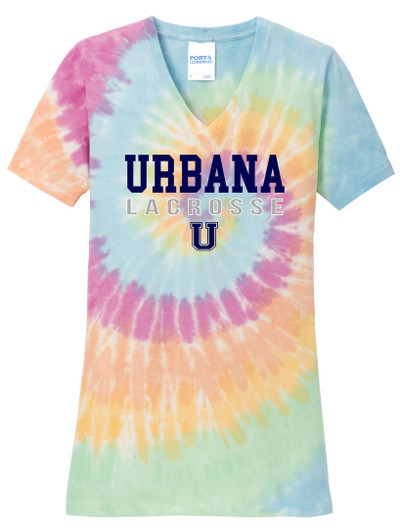 Urbana Hawks LACROSSE V-neck T-shirt Cotton TIE DYE PASTEL RAINBOW LADIES  Size S-4XL