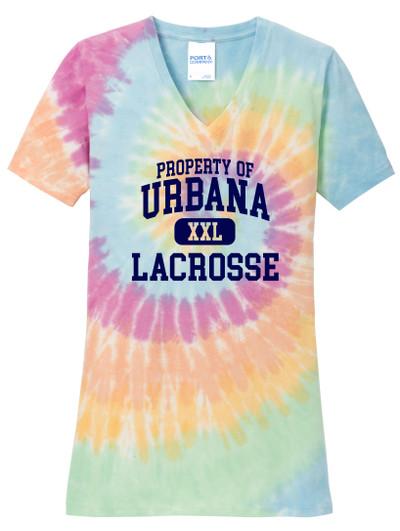 Urbana Hawks LACROSSE V-neck T-shirt Cotton TIE DYE PASTEL RAINBOW PROPERTY OF LADIES Size S-4XL