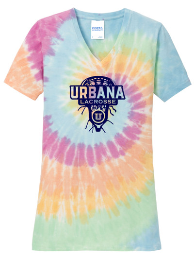 Urbana Hawks LACROSSE V-neck T-shirt Cotton TIE DYE PASTEL RAINBOW LAXHEAD LADIES Size S-4XL