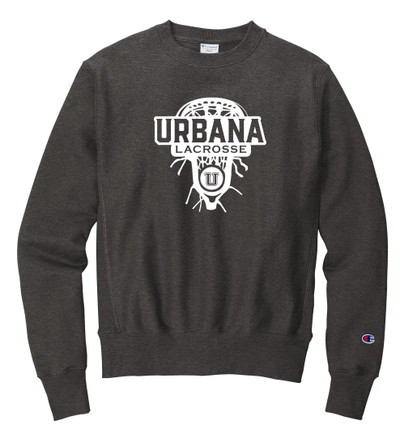 Urbana Hawks LACROSSE Crewneck Cotton Sweatshirt Reverse Weave CHAMPION LAXHEAD Many Colors Available Sz S-3XL CHARCOAL HEATHER GREY