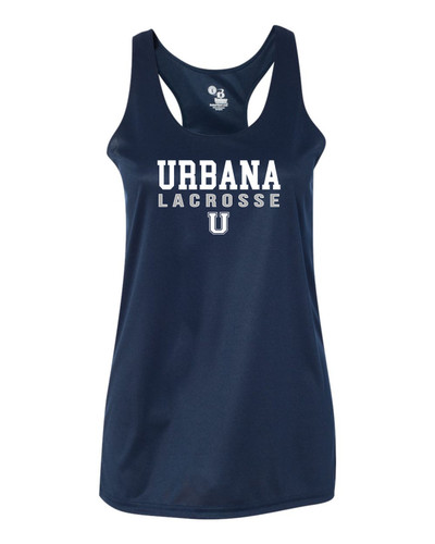Urbana Hawks LACROSSE Tank Top Performance LADIES Racer Back Badger Polyester Many Colors Available Sz S-2XL NAVY