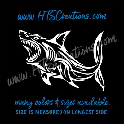 Shark Tribal Tattoo Hawaii Sea Life Fish Vinyl Decal Laptop Car Door Mirror Truck Boat WHITE