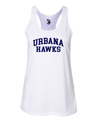 UHS Urbana Hawks TENNIS Tank Top Performance LADIES Racer Back Badger Polyester Many Colors Available Sz S-2XL WHITE