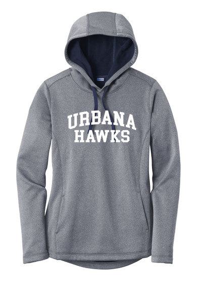 UHS Urbana Hawks Hooded Performance PosiCharge Heather Fleece Pullover U Sweatshirt LADIES Sizes XS-4XL Many Colors Available TRUE NAVY HEATHER