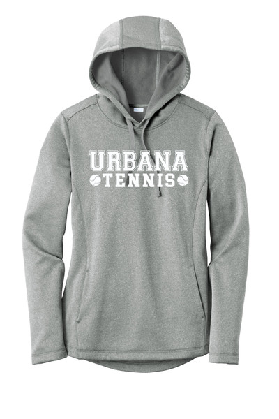 UHS Urbana Hawks TENNIS Hooded Performance PosiCharge Heather Fleece Pullover U Sweatshirt LADIES Sizes XS-4XL Many Colors Available DARK SILVER HEATHER