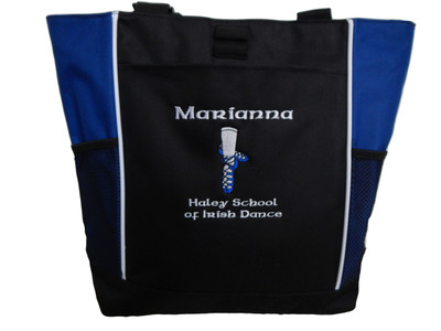 Ghillie Shoes Celtic Irish Dance School Ireland Reel Princess Girl ROYAL BLUE Zippered Tote Bag Font Style CELTIC
