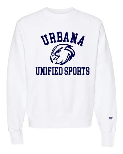 UHS Urbana Hawks Crewneck Sweatshirt Reverse Weave CHAMPION UNIFIED SPORTS Many Colors Available Sz S-3XL WHITE
