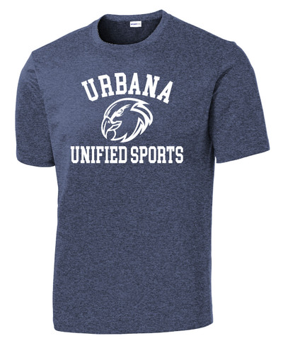 UHS Urbana Hawks UNIFIED SPORTS T-shirt Performance Posi Charge Competitor Many Colors Available SZ XS-4XL  HEATHERED NAVY