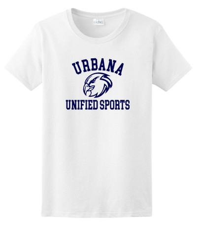 UHS Urbana Hawks T-shirt Cotton UNIFIED SPORTS LADIES Many Colors Available Sz XS-3XL  WHITE