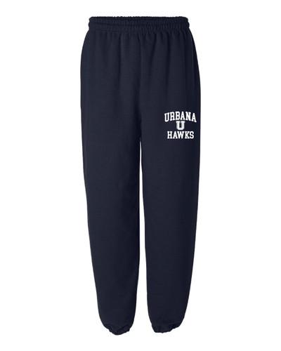 UHS Urbana Hawks U Sweatpants Cotton ELASTIC CUFF Bottom Many Colors Available SIZES S-2XL NAVY