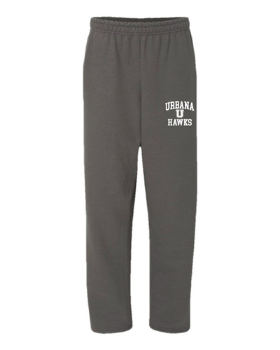 UHS Urbana Hawks Sweatpants Cotton OPEN BOTTOM With Pockets Many Colors Available SIZE S-2XL CHARCOAL