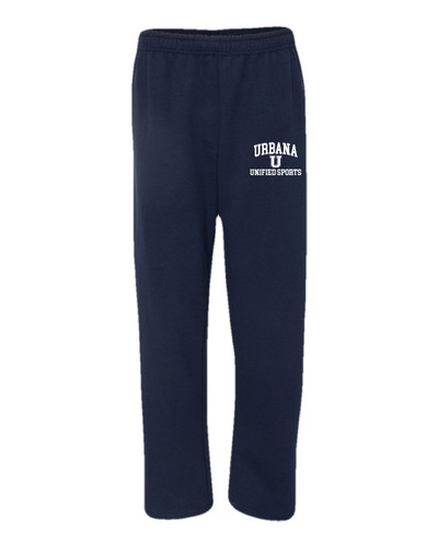 UHS Urbana Hawks UNIFIED SPORTS Sweatpants Cotton OPEN BOTTOM With Pockets Many Colors Available SIZE S-2XL NAVY