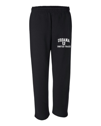 UHS Urbana Hawks UNIFIED TRACK Sweatpants Cotton OPEN BOTTOM With Pockets Many Colors Available SIZE S-2XL BLACK