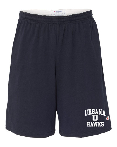 "UHS Urbana Hawks U Shorts CHAMPION Cotton Jersey 9"" with Pockets SZ S-3XL NAVY"