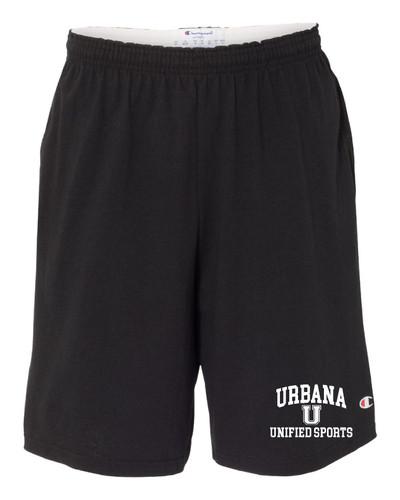 "UHS Urbana Hawks UNIFIED SPORTS Shorts CHAMPION Cotton Jersey 9"" with Pockets SZ S-3XL BLACK"
