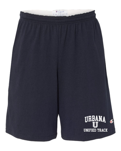 """UHS Urbana Hawks UNIFIED TRACK Shorts CHAMPION Cotton Jersey 9"""" with Pockets  SZ S-3XL NAVY"""