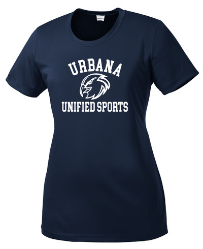 UHS Urbana Hawks UNIFIED SPORTS T-shirt Performance Posi Charge Competitor Many Colors Available LADIES SZ XS-4XL NAVY