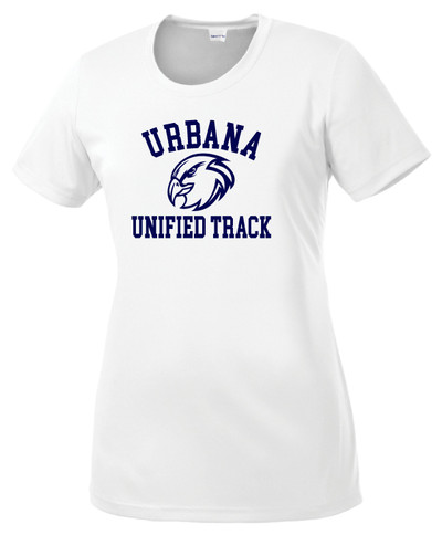 UHS Urbana Hawks UNIFIED TRACK T-shirt Performance Posi Charge Competitor Many Colors Available LADIES SZ XS-4XL WHITE