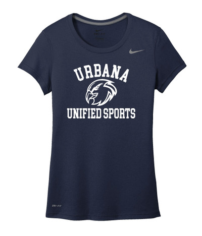 UHS Urbana Hawks UNIFIED SPORTS T-shirt NIKE Performance Dri-FIT LADIES Many Colors Available Sz S-2XL NAVY