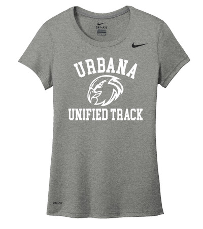UHS Urbana Hawks UNIFIED TRACK T-shirt NIKE Performance Dri-FIT LADIES Many Colors Available Sz S-2XL CARBON HEATHER