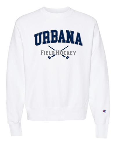 Urbana FIELD HOCKEY Crewneck Cotton Sweatshirt Reverse Weave CHAMPION Many Colors Available Sz S-3XL WHITE