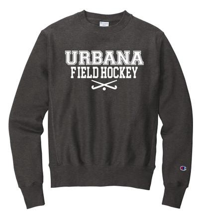 Urbana FIELD HOCKEY Crewneck Cotton Sweatshirt Reverse Weave CHAMPION Many Colors Available Sz S-3XL CHARCOAL HEATHER