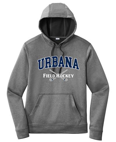 Urbana FIELD HOCKEY Hooded Performance PosiCharge Heather Fleece Pullover Sweatshirt Sticks Many Colors Available SZ XS-4XL BLACK HEATHER