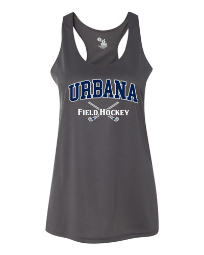Urbana Hawks FIELD HOCKEY Tank Top Performance LADIES Racer Back Badger Polyester Many Colors Available Sz S-2XL GRAPHITE