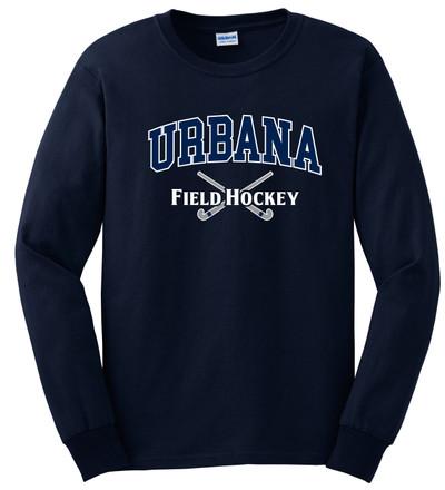 Urbana FIELD HOCKEY Sticks T-shirt Cotton LONG SLEEVE Many Colors Available SZ S-3XL NAVY