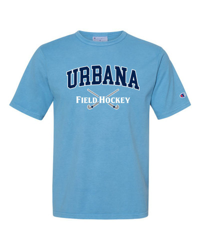 Urbana FIELD HOCKEY T-shirt Cotton CHAMPION Garment Dyed Many Colors Available Sz S-3XL DELICATE BLUE