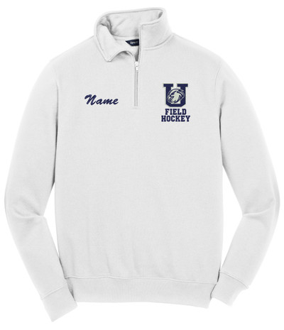 Urbana Hawks Qtr Zip FIELD HOCKEY Cotton Pullover Personalization Available Many Colors Available SIZES S-4XL WHITE WITH NAME PERSONALIZED