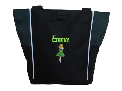 Irish Dancer Ghillie Girl Jig Shoes Celtic Dance Ireland Reel Princess HUNTER GREEN Zippered Tote Bag Font Style CURSIVE  (Kelly Green DRESS with golden yellow TRIM)