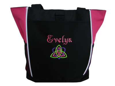 Celtic Trinity Heart Irish Ireland HOT TROPICAL PINK Lime Purple Custom Personalized Zippered Tote Bag Font Style ERICA