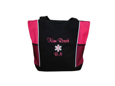 Star of Life HOT PINK Nurse RN Emergency Hospital First Responder Tote Font Style CASUAL SCRIPT