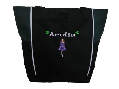 Irish Dancer Ghillie Girl Shamrocks Clover Dancer Jig Shoes Celtic Dance Ireland HUNTER GREEN Zippered Tote Bag Font Style CELTIC (Purple DRESS with White TRIM)