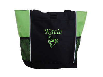 Heart Clef Music Notes Band Chorus Choir Theater Drama Club Glee Piano Teacher LIME GREEN Zippered Tote Bag Font Style MONO CORSIVA