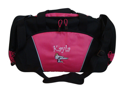 Karate Girl HOT PINK DUFFEL Tae Kwon Do Kung Fu Martial Arts Sensai Ultimate Fighting Sports Font Style CURLZ