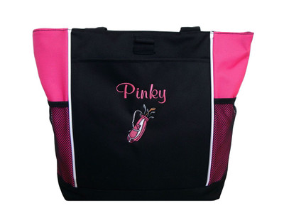 Golf Golfing Golfer Clubs HOT PINK Tote Bag Personalized Embroidered Zippered Tote Bag FONT style CASUAL SCRIPT