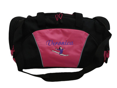 Gymnast Gymnastics Leaping Dance Personalized Embroidered HOT PINK DUFFEL Font Style LISA