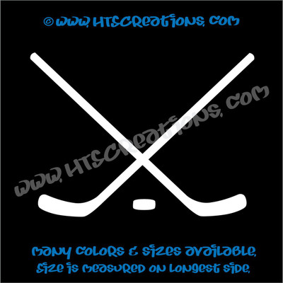 Ice Hockey Sticks Puck Skate Vinyl Decal