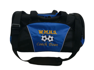 Soccer 2 BallS Coach Mom Team Personalized Embroidered ROYAL BLUE DUFFEL Font Style VARSITY