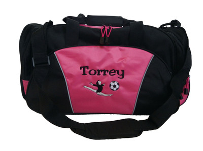 Gymnast Soccer Ball Coach Mom Team Personalized Embroidered TROPICAL HOT PINK DUFFEL Font Style JESTER