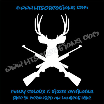 Hunting Deer Antlers Rifle Vinyl Decal Sticker