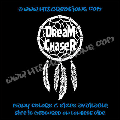 Dreamchaser Dreamcatcher Native American Feather Indian Vinyl Decal WHITE