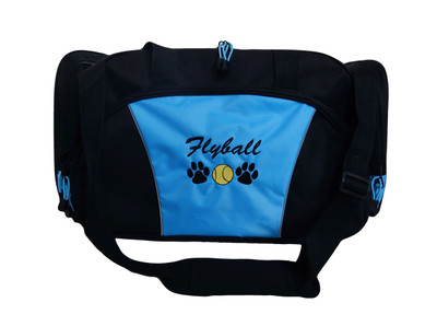 Paw Prints FLYBALL Tennis Ball Personalized Embroidered DUFFEL Font Style ROUNDED BLOCK.  Please note the light blue duffel color has been discontinued.  Image is for display of embroidery design purposes.