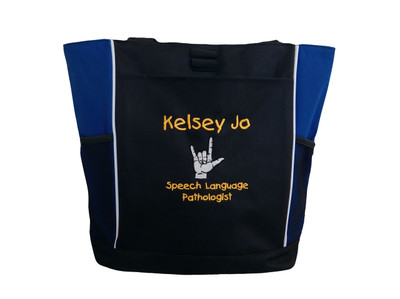 Sign Language Speech Language Pathologist SLP Autism Personalized Embroidered Zippered ROYAL BLUE Tote Bag Font Style CHILDS PLAY