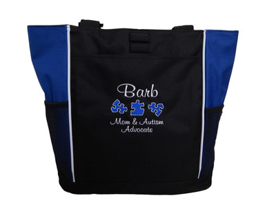 Autism Mom Grandma Advocate Teacher SLP Puzzle Pieces Personalized Embroidered Zippered  ROYAL BLUE Tote Bag Font Style CASUAL SCRIPT