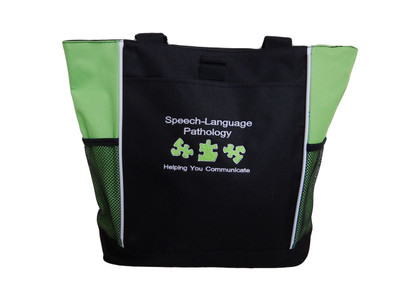 Speech Language Pathologist SLP Puzzle Pieces Helping You Communicate Personalized Embroidered Zippered  LIME GREEN Tote Bag Font Style ARIAL
